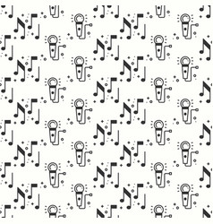 Karaoke seamless pattern microphone and notes vector
