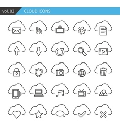 Modern line cloud icons set Premium quality vector image