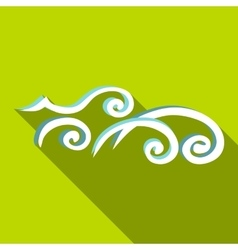 Ocean wave icon flat style vector