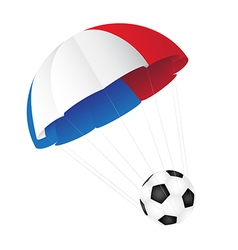 Parachute colored in the flag of france descends vector