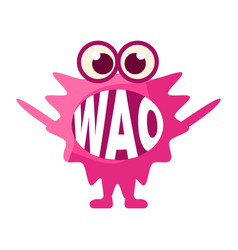 Pink blob saying wao cute emoji character with vector