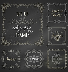 set of chalk calligraphic frames vector image vector image