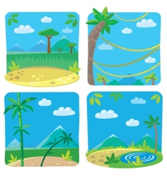 Set of four funny simple nature background vector