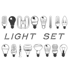set of light bulbs isolated on white vector image