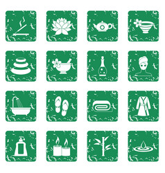 Spa treatments icons set grunge vector