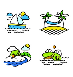 Summer activity icons set vector