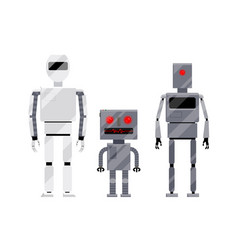 Three modern and retro style robot characters vector