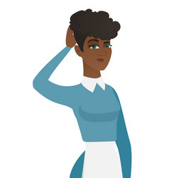 young african-american cleaner scratching her head vector image