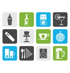 Flat night club bar and drink icons vector