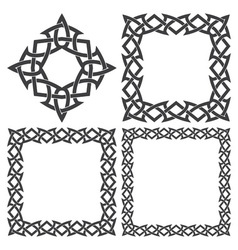 Set of magic knotting frames and celtic cross vector image