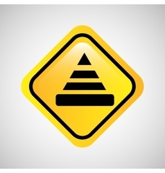 Warning cone icon metal yellow vector