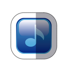 Sticker blue square frame with musical note vector