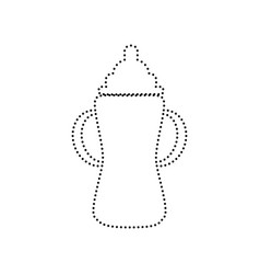 Baby bottle sign  black dotted icon on vector
