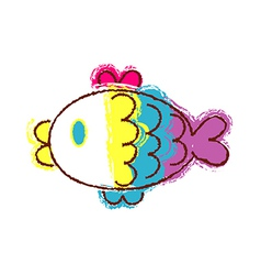 Crayon fish vector