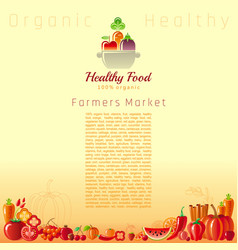 Red autumn farmers market fruit and vegetable vector