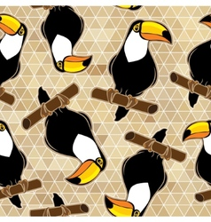 Seamless exotic brazil toucan bird background vector