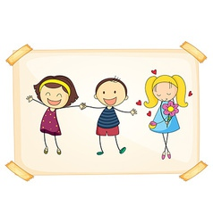 Girls and boy vector image