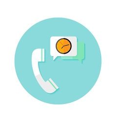 Request callback with time clock flat circle icon vector