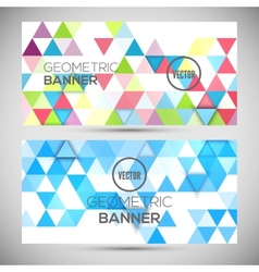 Abstract banners 3d triangles geometric background vector
