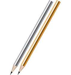 silver and golden lead pencils vector