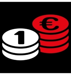 Coins one euro icon from bicolor euro banking set vector