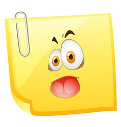 Silly face on yellow paper vector