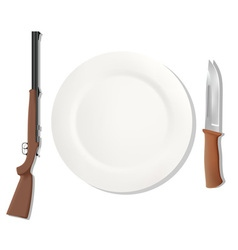 Dinner placemats for a hunter vector