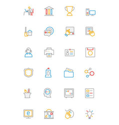 School and education colored line icons 4 vector