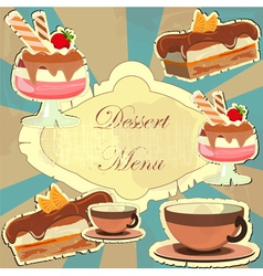 vintage card with desserts vector image