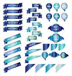 Sale blue ribbons isolated on white background vector