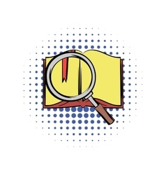 Open book with loupe comics vector