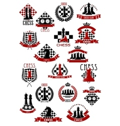 Chess game icons with chessboards and pieces vector