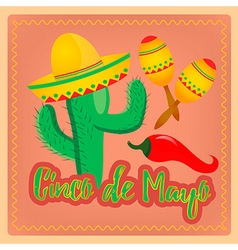 Cactus in sombrero hat mexican maracas and chili p vector
