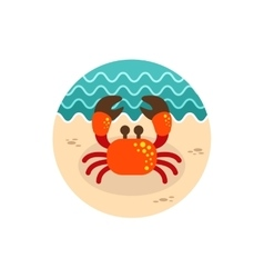 Crab icon summer vacation vector