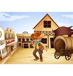 A man holding a gun with a wooden carriage at the vector image