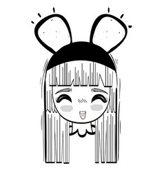 anime happy cute woman with costume vector image vector image