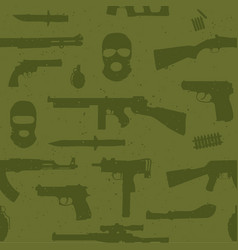 Army weapons seamless pattern vector image