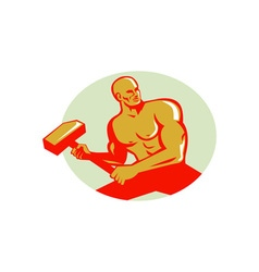 Athlete with sledgehammer training oval retro vector