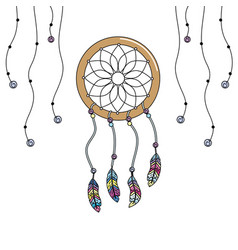 Beauty dream catcher with feathers design vector
