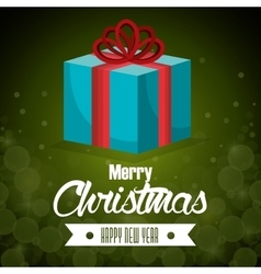 big gift blue bow card merry christmas green vector image vector image