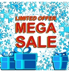 Big winter sale poster with limited offer mega vector