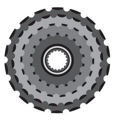 bike metallic cogwheel bicycle crankset cassette vector image