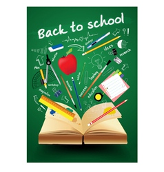 Book with back to school creative concept vector image