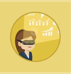 Businesswoman in vr headset analyzing virtual data vector