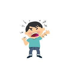 Cartoon character of a angry asian boy vector