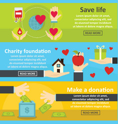 charity donation banner horizontal set flat style vector image vector image
