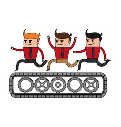 color image cartoon teamwork riding an belt with vector image