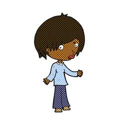 Comic cartoon confused woman vector