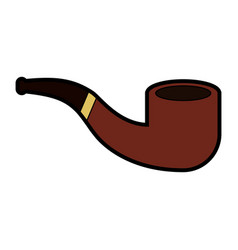 Cute brown smoke pipe cartoon vector