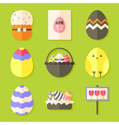 Easter icons set with shadows over green vector